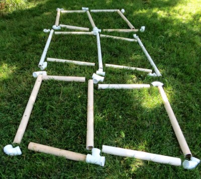 PVC pipe and joint pieces laid out