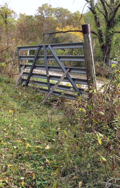 old gate posts fall over